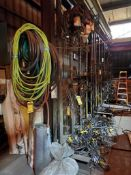 ASSORTED LIFTING CABLES AND PORTABLE SAW HORSES