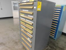 11-DRAWER EQUIPTO CABINET W/ CONTENTS, 59 1/2''T X 28 1/2''D X 28''W, SET SCREWS, RETAINING RINGS,