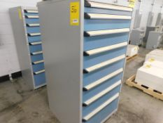 8-DRAWER ROUSSEAU CABINET W/ CONTENTS, 59 1/2''T X 28 1/2''D X 28''W, ASSORTED ELECTRICAL