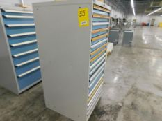 17-DRAWER LISTA CABINET W/ CONTENTS, 59 1/2'' T X 28 1/2''D X 28''W, ASSORTED ELECTRICAL