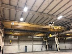 P&H 60' SPAN X 25-TON BRIDGE CRANE, S/N CB29117, DOUBLE GIRDER / TOP RUNNING, SCALES, REMOTE CONTROL