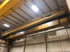 P&H 60' SPAN X 25-TON BRIDGE CRANE, S/N CA27644, DOUBLE GIRDER / TOP RUNNING, SCALES, REMOTE CONTROL