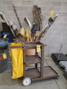 CONTINENTAL ROLLING JANITORIAL CART & CAN FULL OF BROOMS, DUSTMOPS, AND SHOVELS ***LOCATED AT