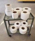 ROLLING CART WITH ROLLS OF LABELS ***LOCATED AT 12850 DARICE PARKWAY, STRONGSVILLE, OH***