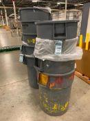 (9) BRUTE TRASH CANS, ASSORTED PLASTIC GUARDRAIL POSTS