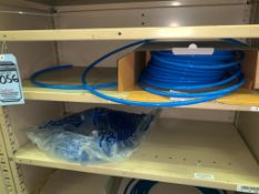 SHELVING WITH CONTENTS: ASSORTED SIZE HOSE