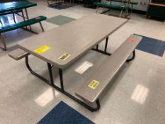 (5) FOLDING PICNIC TABLES: (3) 72'' X 30'', (2) 56'' X 30'', (2) TRASH CANS