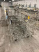 ASSORTED SIZE FOLDABLE WIRE BASKETS ON WHEELS