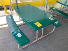 (7) FOLDING PICNIC TABLES: (4) 56'' X 30'', (3) 70'' X 30'', (3) TRASH CANS