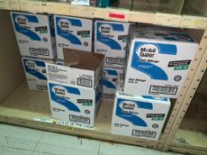 SHELVING WITH CONTENTS: GLOVES, SPRAY BOTTLES ASSORTED PARTS, CHAIN LUBE, HAND SANITIZER, CAN
