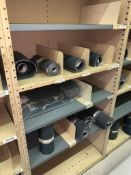 SHELVING WITH CONTENTS: CONVEYOR BELTING, GEARS