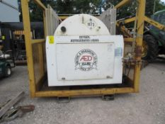 PRAXAIR LIQUID OXYGEN TO GAS REGENERATOR MOUNTED OF PORTABLE STEEL SLED CAGE, 120 PSIG, A FILL