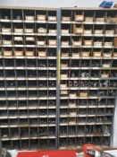 (2) PIGEONHOLE CABINETS WITH ASSORTED HARDWARE