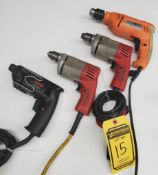 (4) ELECTRIC DRILLS; (1) AEG AND (2) MILWAUKEE 1/4'', AND (1) CHICAGO