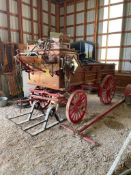 HITCH SHOW WAGON (RESTORED), W/ ALL HORSE TACK, (2) FRONT SKIS