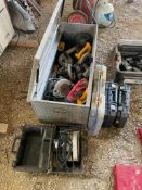 ASSORTED ELECTRIC POWER TOOLS: INCL. (4) SKILLSAWS, (3) DRILLS, (1) PORTABLE BAND SAW