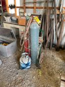 OXY-ACETYLENE CUTTING SYSTEM ON SAFE-T CART BOTTLE DOLLY, 25' HOSES, AND PROPANE TORCH