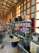 SHELVING AND CONTENTS OF NEW AND USED ASSORTED PARTS, JOHN DEERE, KUBOTA, CATERPILLAR, ETC.