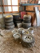 ASSORTED RIMS AND TIRES INCL., (6) AFTERMARKET 5-LUG ALUMINUM RIMS