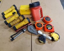 ASSORTED FLASHLIGHTS & MEASURING TAPES