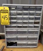 CABINET WITH CONTENTS, ASSORTED SIZE ALLEN WRENCHES