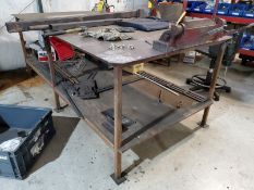 96'' X 48-1/2'' X 1/4'' STEEL WELDING TABLE WITH DI-ACRO NO.2 BENCH- TOP PAN BRAKE