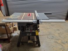PORTER-CABLE 10'' TABLE SAW, BEVEL SCALE, MICRO ADJUSTABLE GUIDE, 41'' X 27'' TABLE
