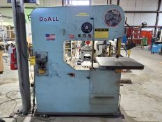 DO-ALL VERTICAL BAND SAW, MODEL 3613-20, S/N 399-80225, CONTOUR MACHINE, 16'' THROAT, FOOTSWITCH, DB