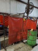WELDING STATION WITH (2) STEEL TABLES, STEEL RACK WITH WELDING WIRE, STEEL CUT OFFS, (2) WELDING CUR