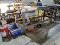 PNEUMATIC HORIZONTAL BENDING TABLE, 74'' X 24'' X 1/2'' STEEL TABLE AREA, UNDER MOUNT CYLINDER, PEG/