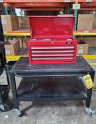 ULINE TOOLBOXES MOUNTED ON ROLLING CART