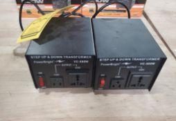 (2) POWER BRIGHT STEP UP & DOWN TRANSFORMERS; VC-500W, 100V-220V