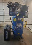 POLAR AIR VERTICAL COMPRESSOR; 80-GALLONS, MODEL APP4V1043T, S/N 81969, 7.5 HP, SINGLE PHASE, 175-PS