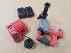 MILWAUKEE 1'' ROTARY HAMMER DILL SDS PLUS, CAT# 2712-20, S/N G17BD201900471, 18-VOLT, WITH (2) BATTE