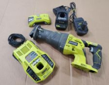 RYOBI SAW ZAW, MODEL P516, S/N CS17491N160516, WITH 18-VOLT BATTERY AND (2) CHARGERS