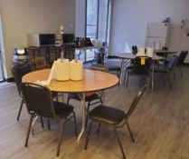 CONTENTS OF BREAKROOM; (2) MICROWAVES, (2) MICROWAVE CARTS, (3) TABLES, (12) CHAIRS, REFRIGERATOR, A