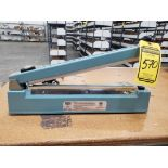 ULINE TABLETOP SEATER WITH CUTTER, 4-LABELERS, SHRINK WRAP ROLLS, AND TAPE & TAPE DISPENSERS,