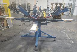 M&R 6-STATION MANUAL PRINT SCREEN PRESS; MODEL SWIND00406S27, S/N 184682518S