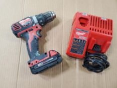 MILWAUKEE 1/2'' DRILL, CAT# 2606-20, S/N F24DD191003603, 18-VOLT, WITH BATTERY AND CHARGER