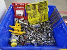BIN OF ASSORTED RATCHETS, SOCKETS, AND EXTENSIONS