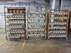 (3) METRO ROLLING SHELVING W/ PLASTIC BINS