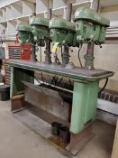 """DELTA ROCKWELL 4-SPINDLE FLOOR DRILL PRESS, MODEL 17-600, S/N 1452498-1452501, 77"""" X 23-1/2"""" TABLE"""