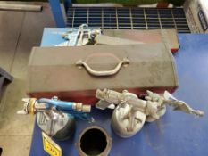 (3) PAINT SPRAY GUNS WITH POTS AND BOX OF SUPPORT