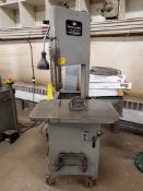 """WORK-A-MATIC VERTICAL BAND SAW, LATERAL TRAVEL, 12"""" THROAT, 29"""" X 18"""" TABLE, ON CASTERS, SPARE BAND"""