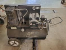 SANBORN 5-HP HORIZONTAL PORTABLE AIR COMPRESSOR, MODEL M165B500-20, 20-GALLON, 120 PSI