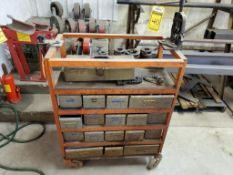 STEEL CART WITH PIPE CLAMP, THREADER DIES & ASSORTED HARDWARE