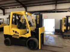 2017 HYSTER 15,000 LB. CAPACITY DIESEL FORKLIFT, MODEL S155FT, SOLID TIRES, 2-STAGE MAST ***(LOCATED