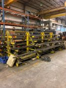 CONTENTS OF A-FRAME STOCK RACK: ROUND, ANGLE, FLAT, THREADED STEEL STOCK, VARIOUS LENGTHS (RACK NOT