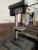 """CENTRAL MACHINERY 13"""" VERTICAL BENCHTOP DRILL PRESS BUTCHER BLOCK TOP TABLE, 12"""" DIA. TILT TABLE,"""