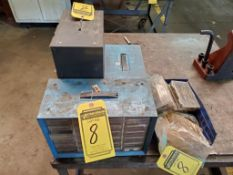 (3) PLASTIC SHELF HARDWARE INDEX BOXES AND ASSORTED HARDWARE: SCREWS, NUTS, DRILL BITS, ETC.